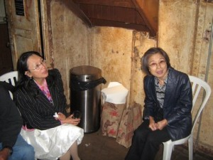 Margaret Ma and champ recycler Jenny Cheng, right, at VCB's fall fundraiser on board the Light Ship Frying Pan.