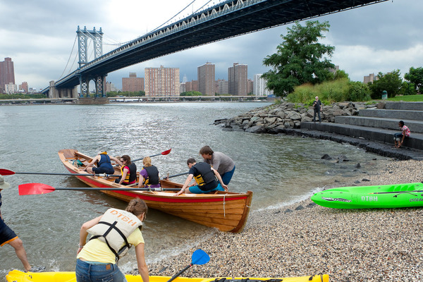 boating with Village Community Boathouse on the East  River in the Cove at Brooklyn Bridge Park
